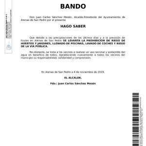 BANDO: SE LEVANTA LA PROHIBICIÓN DE RIEGO DE HUERTOS Y JARDINES, LLENADO DE PISCINAS, LAVADO DE COCHES Y RIEGO DE LA VÍA PÚBLICA.