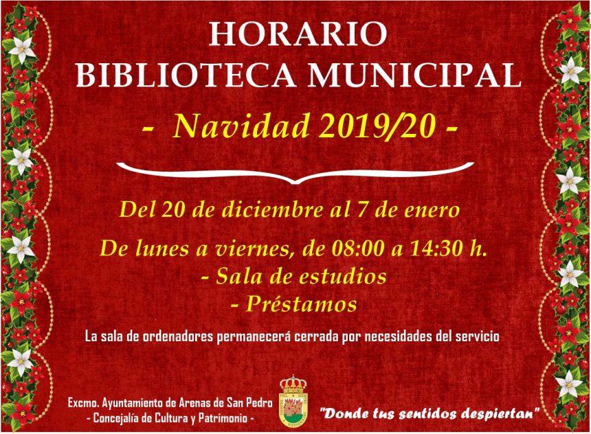 📖 HORARIO BIBLIOTECA MUNICIPAL –  Navidad 2019/20 – 🎄
