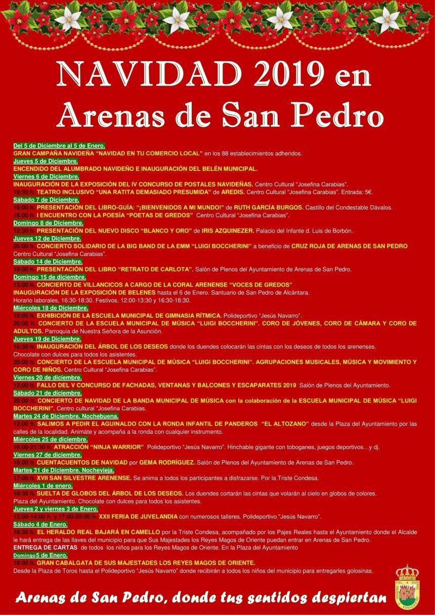 👑🎄🎅🎉 PROGRAMACIÓN DE LA NAVIDAD 2019/2020 DE ARENAS DE SAN PEDRO 🎉🎅🎄👑