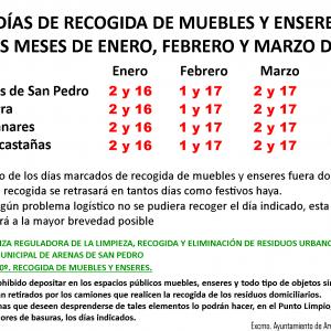 🚛🛢 DÍAS DE RECOGIDA DE MUEBLES Y ENSERES DE LOS MESES DE ENERO, FEBRERO Y MARZO DE 2020 🛢🚛