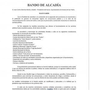 📯 BANDO DE ALCALDÍA CON LAS RECOMENDACIONES Y MEDIDAS ANTE LA EPIDEMIA DEL CORONAVIRUS 📯