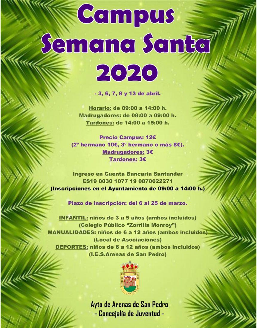 🌿 CAMPUS SEMANA SANTA 2020 🌿- 3, 6, 7, 8 y 13 de abril.