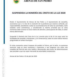 SUSPENDIDA LA ROMERÍA DEL CRISTO DE LA LUZ 2020
