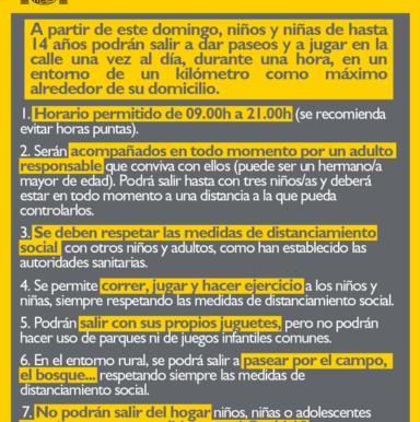 SALIDAS CONTROLADAS PARA NIÑOS Y NIÑAS A PARTIR DEL DOMINGO 26 DE ABRIL