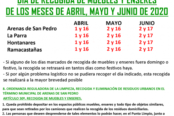 DÍAS DE RECOGIDA DE MUEBLES Y ENSERES DE LOS MESES DE ABRIL, MAYO Y JUNIO DE 2020