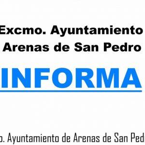 EL AYUNTAMIENTO DE ARENAS DE SAN PEDRO INFORMA