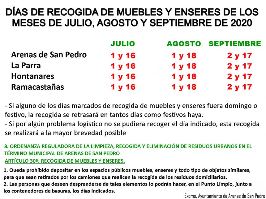 🚛 DÍA DE RECOGIDA DE MUEBLES Y ENSERES DE LOS MESES DE JULIO, AGOSTO Y SEPTIEMBRE DE 2020 🚛