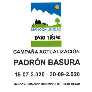 CAMPAÑA DE ACTUALIZACIÓN DEL PADRÓN DE BASURA DE LOS MUNICIPIOS DE LA MANCOMUNIDAD DEL BAJO TIÉTAR