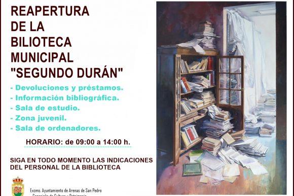 """📚📖 LA BIBLIOTECA MUNICIPAL """"SEGUNDO DURÁN"""" DE ARENAS DE SAN PEDRO INICIA LA NUEVA NORMALIDAD 📚📖"""