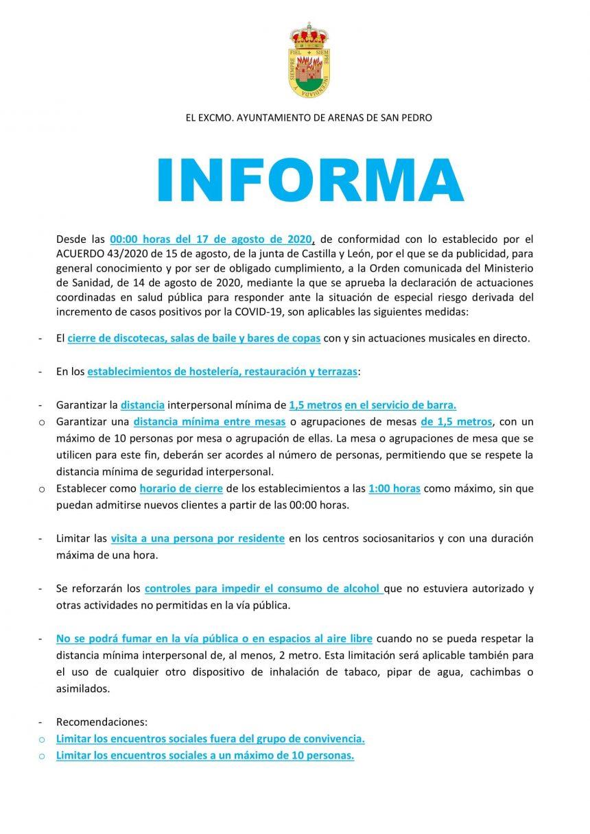 EL EXCMO. AYUNTAMIENTO DE ARENAS DE SAN PEDRO INFORMA