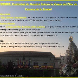 8 DE SEPTIEMBRE, Festividad de Nuestra Señora la Virgen del Pilar de Arenas – Patrona de la Ciudad –