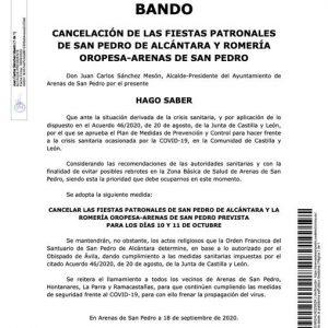 BANDO DE ALCALDÍA – CANCELACIÓN DE LAS FIESTAS PATRONALES DE SAN PEDRO DE ALCÁNTARA Y ROMERÍA OROPESA-ARENAS DE SAN PEDRO