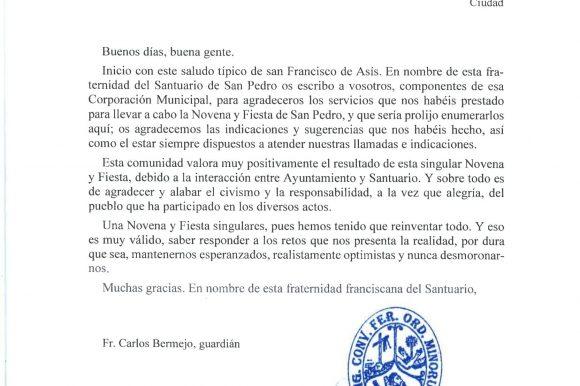👏 AGRADECIMIENTOS DE LA FRATERNIDAD FRANCISCANA DEL SANTUARIO DE SAN PEDRO DE ALCÁNTARA AL AYUNTAMIENTO 👏