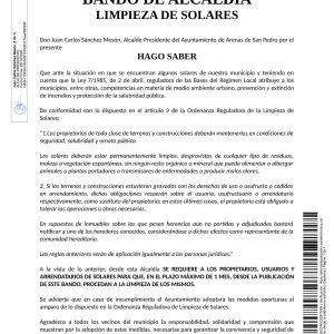 BANDO DE ALCALDÍA – LIMPIEZA DE SOLARES –