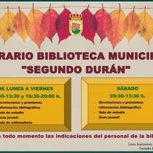 """📚📖 AMPLIACIÓN DE HORARIOS Y SERVICIOS DE LA BIBLIOTECA MUNICIPAL """"SEGUNDO DURÁN» 📚📖"""