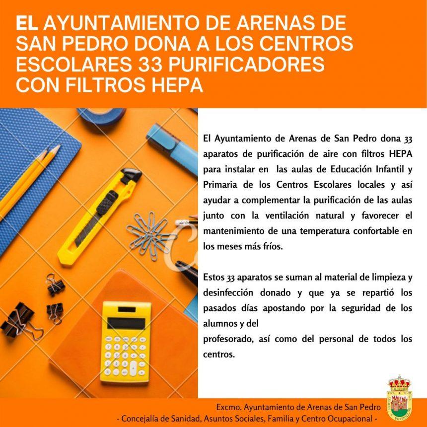 EL AYUNTAMIENTO DE ARENAS DE SAN PEDRO DONA 33 PURIFICADORES CON FILTROS HEPA A LOS CENTROS ESCOLARES