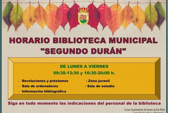 """📚📖 HORARIOS Y SERVICIOS DE LA BIBLIOTECA MUNICIPAL """"SEGUNDO DURÁN» 📚📖"""