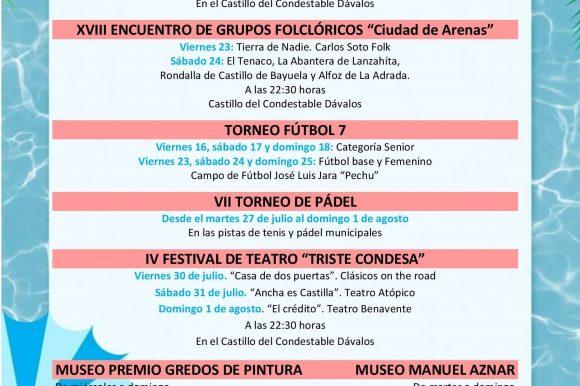 """ARENAS DE SAN PEDRO ARRANCA SU """"VERANO CULTURAL, FESTIVO Y DEPORTIVO 2021"""" REPLETO DE ACTIVIDADES"""